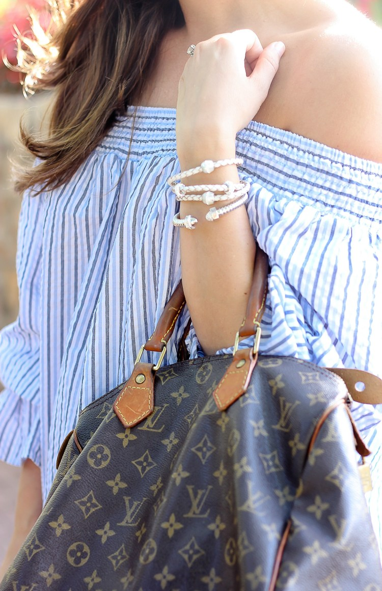 striped Off-shoulder Top with Bowknot