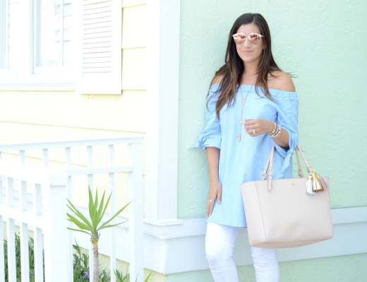 blue off shoulder tunic with ties