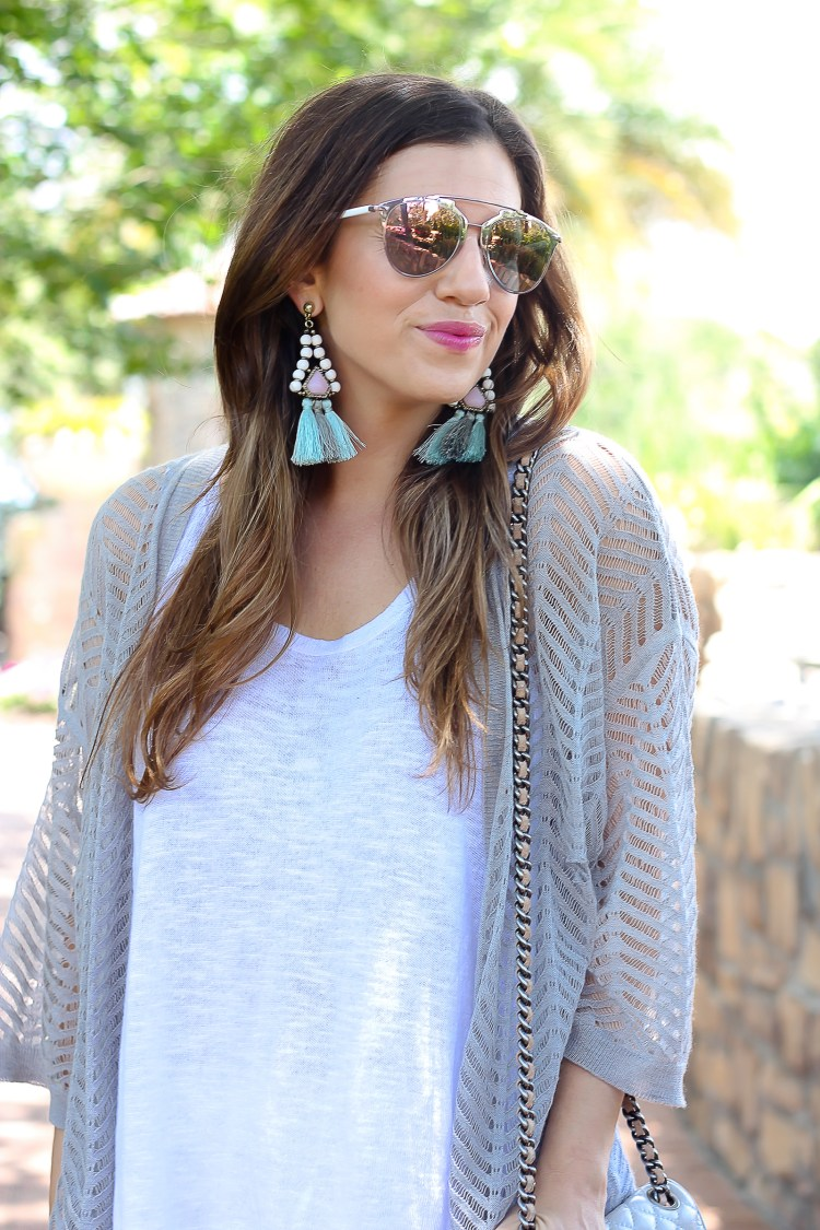 bauble bar tassel earrings, dior pink reflected sunglasses