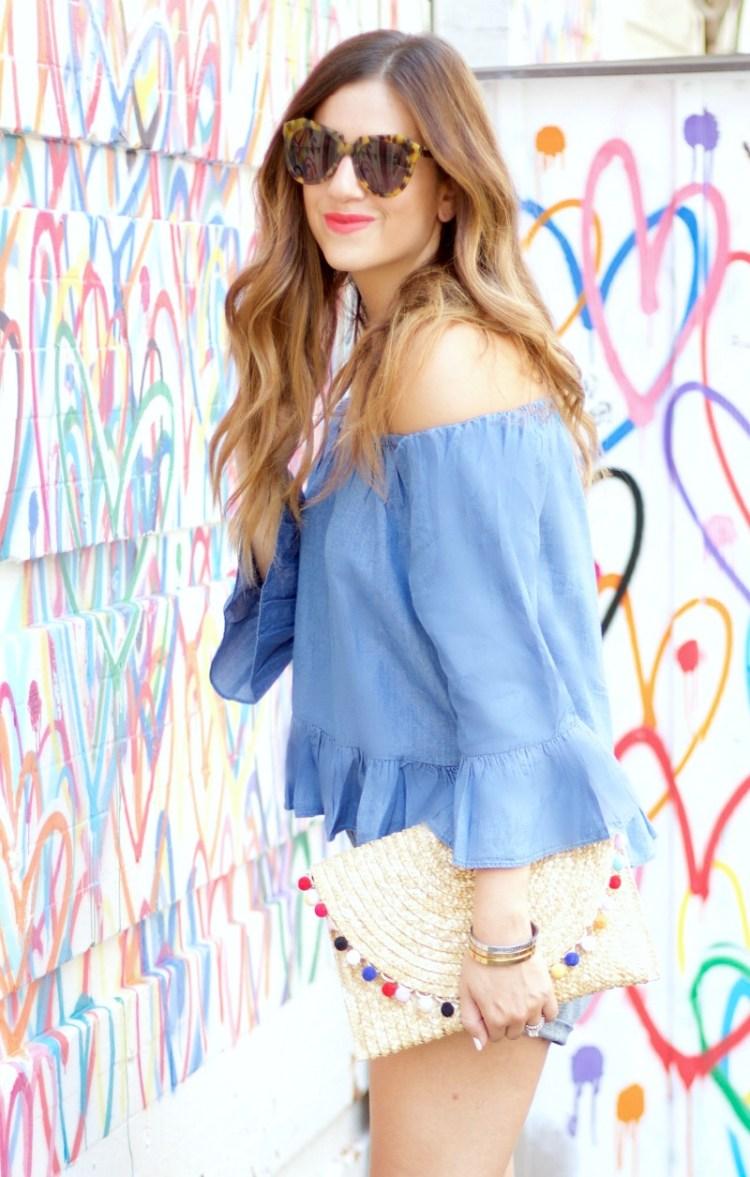 pom pom straw clutch, chambray off shoulder top, NYC hearts graffiti wall soho