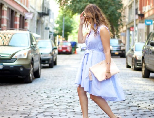 blue white striped button down dress