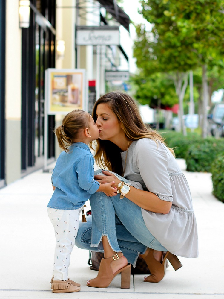 Fashion blogger Jaime Cittadino and daughter Harley Cittadino styling Freshly Picked Moccasins for a mommy and me shoot