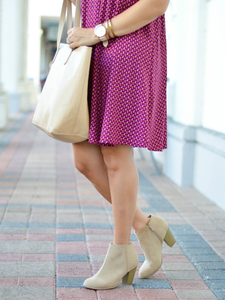 Jaime Cittadino of Sunflowers and Stilettos fashion blog wearing Old Navy booties and a swing dress for fall.