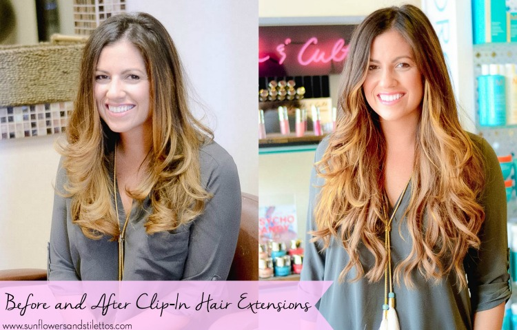 Before and After Clip-In Hair Extensions