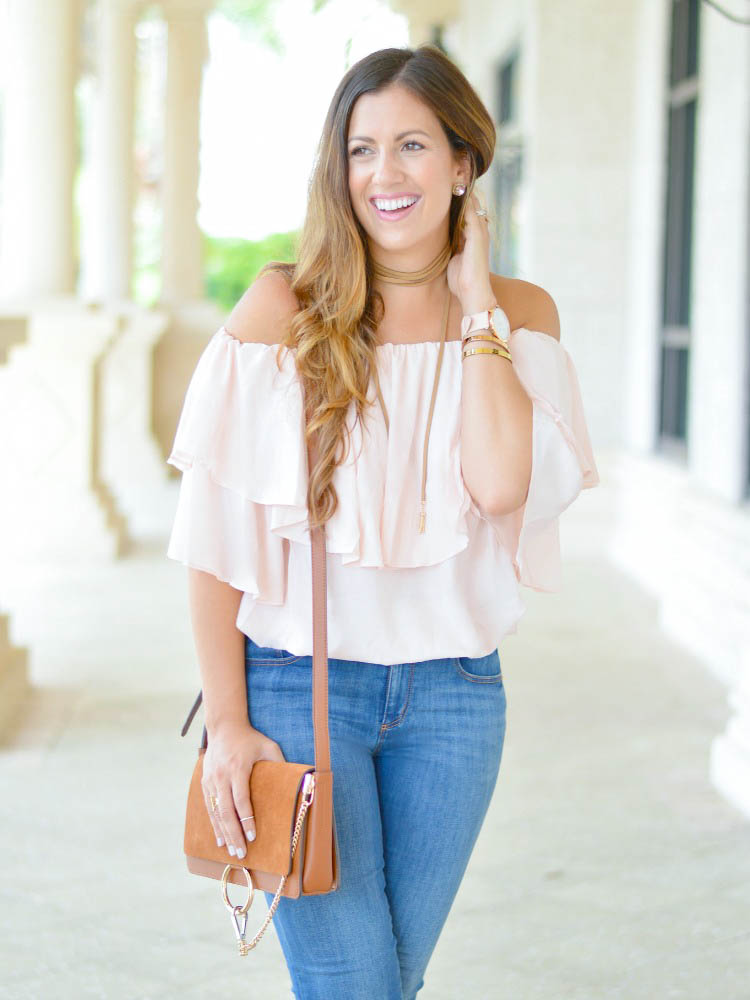 Light pink off shoulder ruffled top from Chicwish