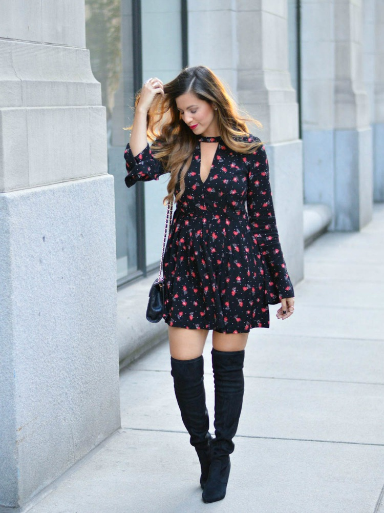 Free People Tegan Printed Mini Dress worn by style blogger, Jaime Cittadino of Sunflowers and Stilettos