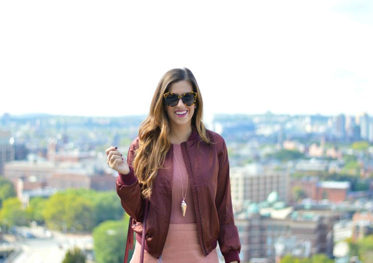 Satin Bomber Jacket in burgundy