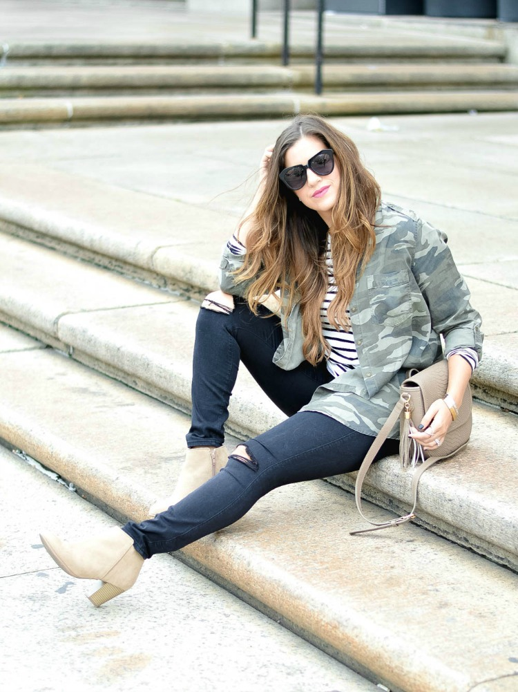 Fashion Blogger, Jaime Cittadino of Sunflowers and Stilettos wearing camo and stripes at the Boston Public Library