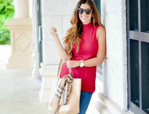 cranberry sleeveless turtleneck top