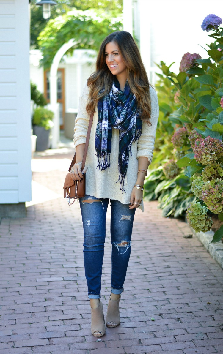 Blue Green Plaid Scarf, Ripped Denim