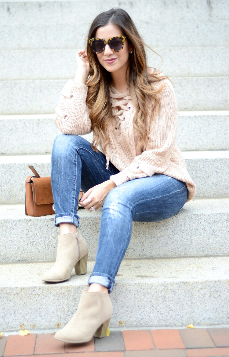 Lace Up Tie Front Sweater