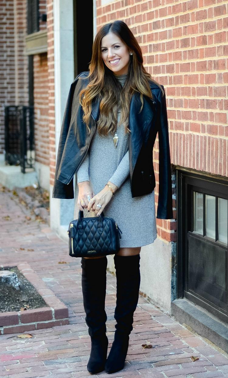 Cold Shoulder Dress, Biker Jacket, OTK Boots