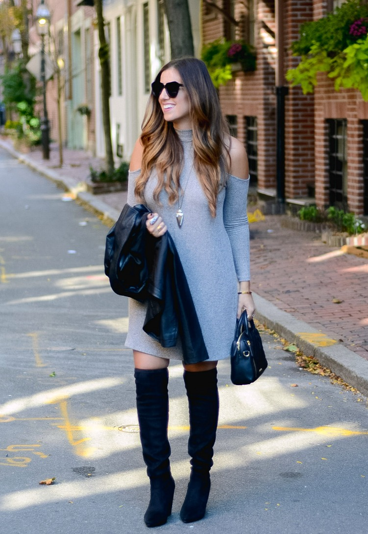 Cold Shoulder Dress with Over The Knee Boots