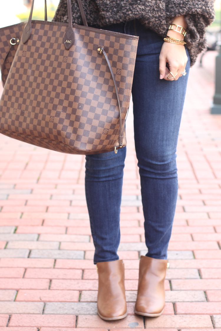 Payless Booties, American Eagle denim, Louis Vuitton Neverfull bag