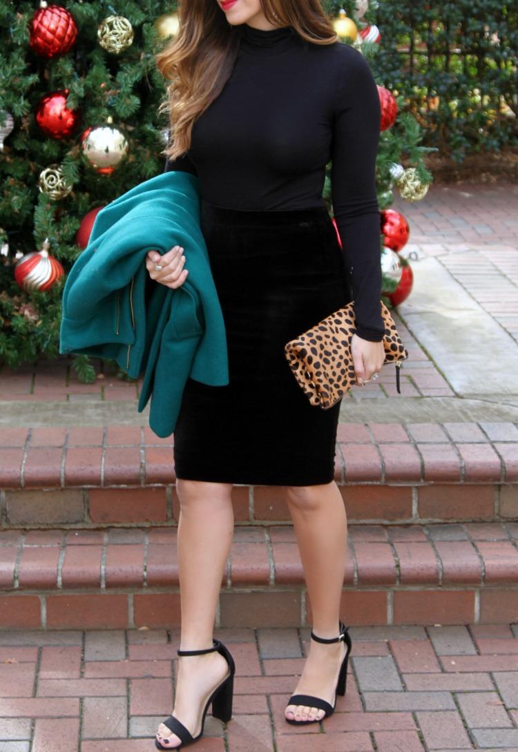 Velvet Pencil Skirt, All Black Holiday Look