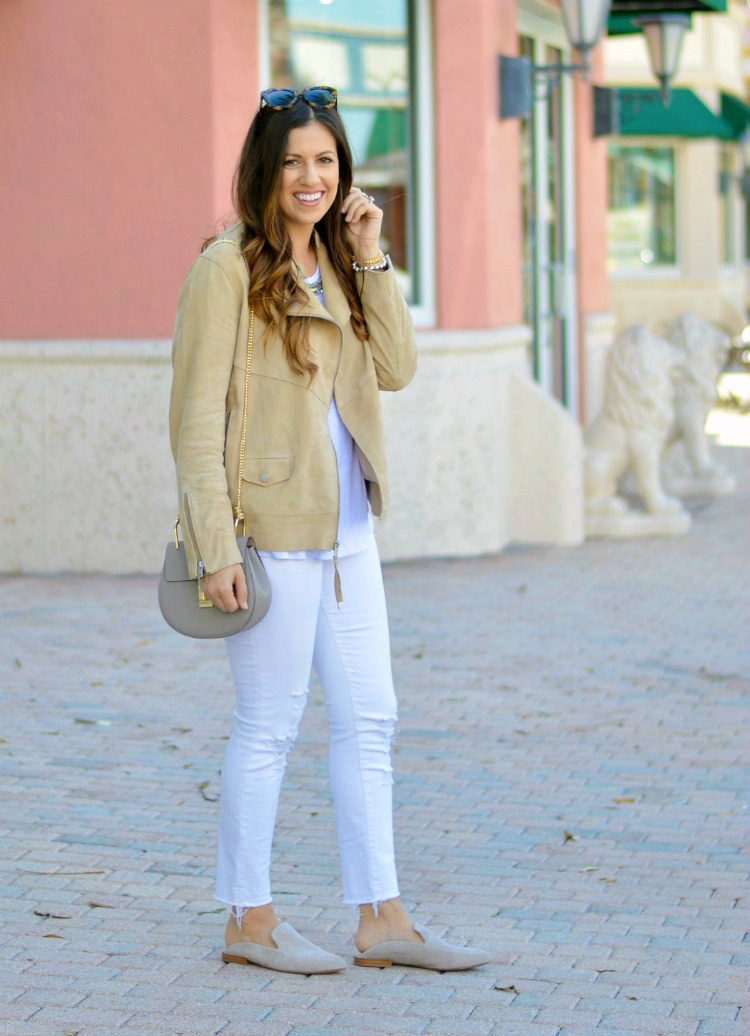 Suede Biker Jacket with Mules for Spring styled by Fashion and Lifestyle blogger, Jaime Cittadino