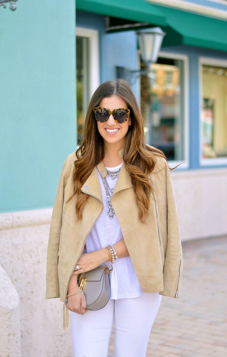 Suede Biker Jacket for Spring worn by Fashion Blogger, Jaime Cittadino