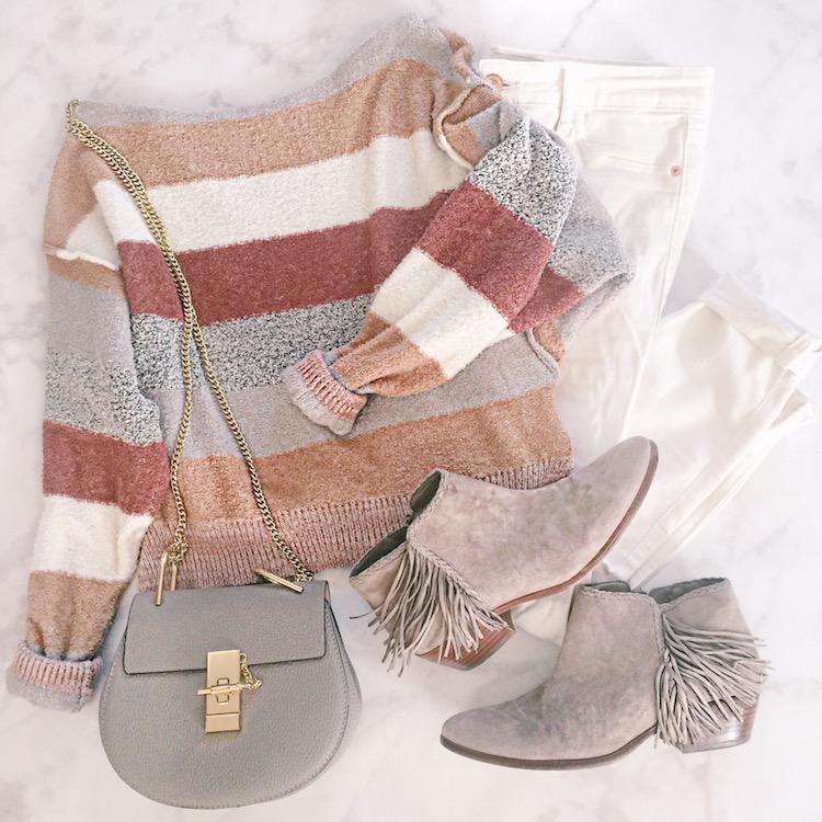 Free People striped sweater, best Chloe bag dupe, fringe Sam Edelman booties