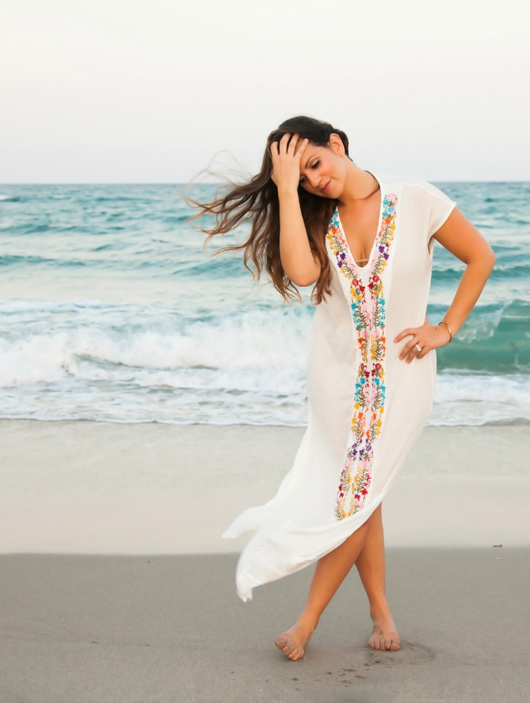 Embroidered Beach Coverup Maxi Dress