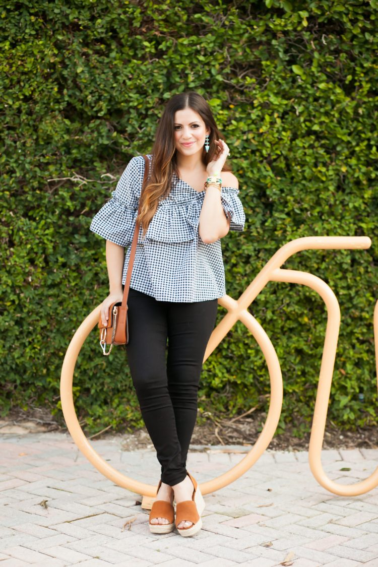 asymmetrical ruffled gingham top