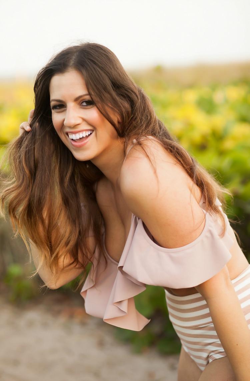 Miami Fashion Blogger Jaime Cittadino wearing Montce Swim Dusty Rose La Caletta Top and Pink Stripe High Waisted Bikini Bottoms