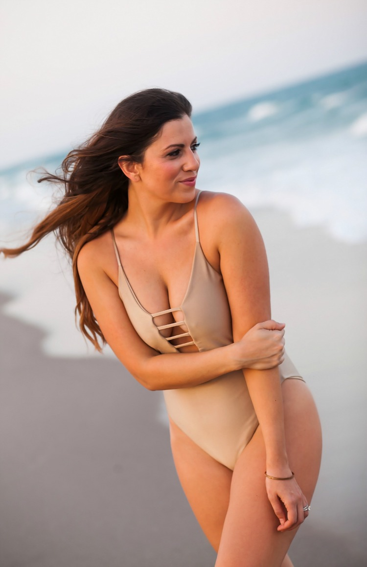 gold one-piece swimsuit