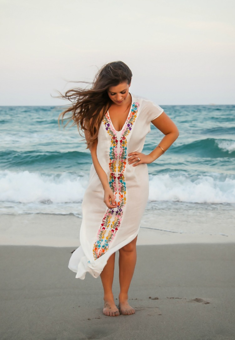 Embroidered Maxi Dress Beach Coverup, Jaime Cittadino Sunflowers and Stilettos blog