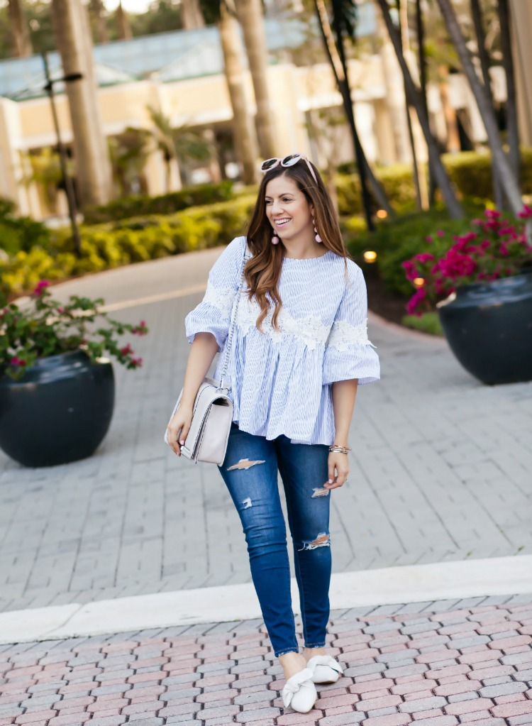 Chicwish blue white striped dolly top worn by Fashion Blogger Jaime Cittadino in Boca Raton Florida