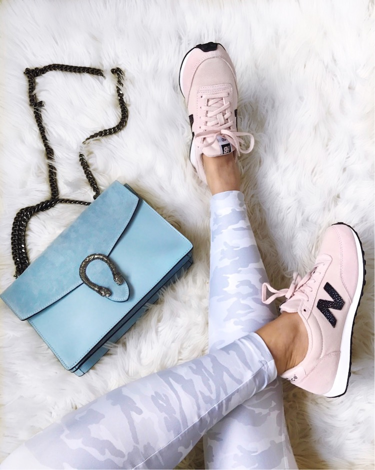 white camo leggings, pink New Balance