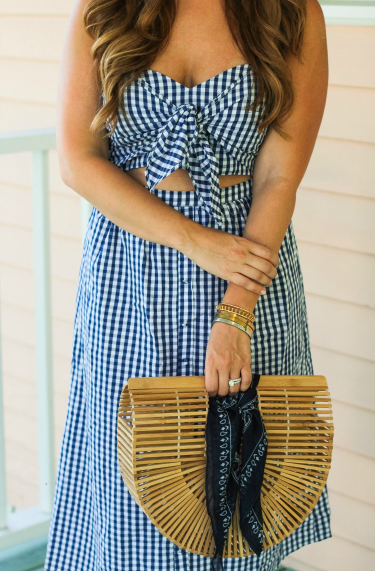 bow front gingham midi dress