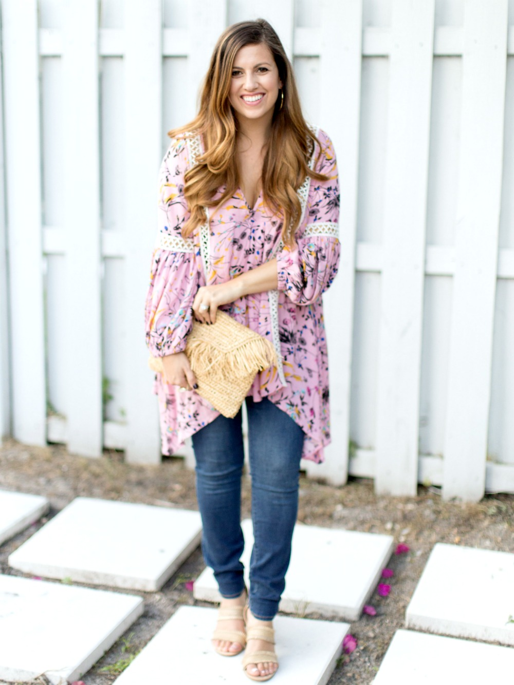 Chicwish Aromatic Flowers Flow My Way V-neck Tunic in Pink_styled by fashion blogger Jaime Cittadino of Sunflowers and Stilettos