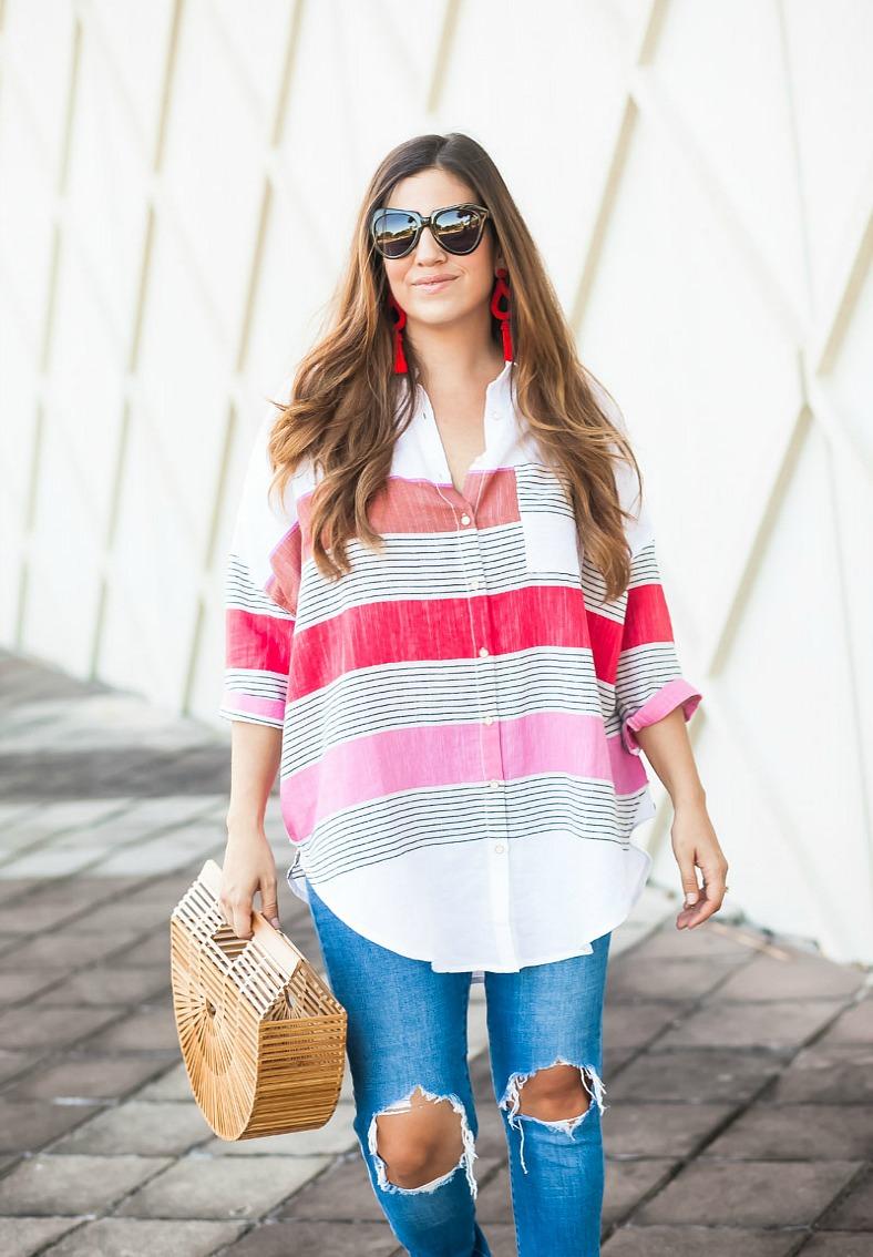 oversized stripe button-down shirt_ cult gaia bamboo bag