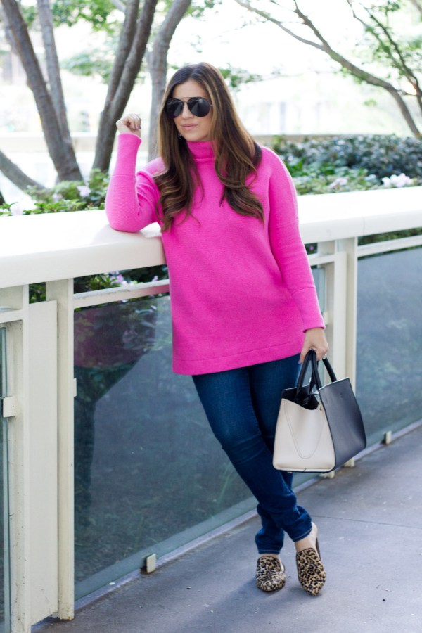 Bright Pink Sweater _ Leopard Flats_ Winter Style Inspo_ Fall Fashion Inspo