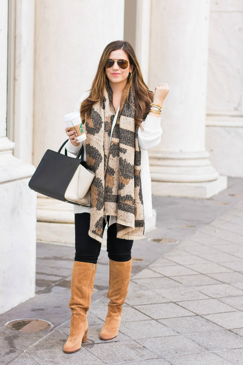 Fall Fashion, leopard scarf, Sunflowers and Stilettos fashion blog