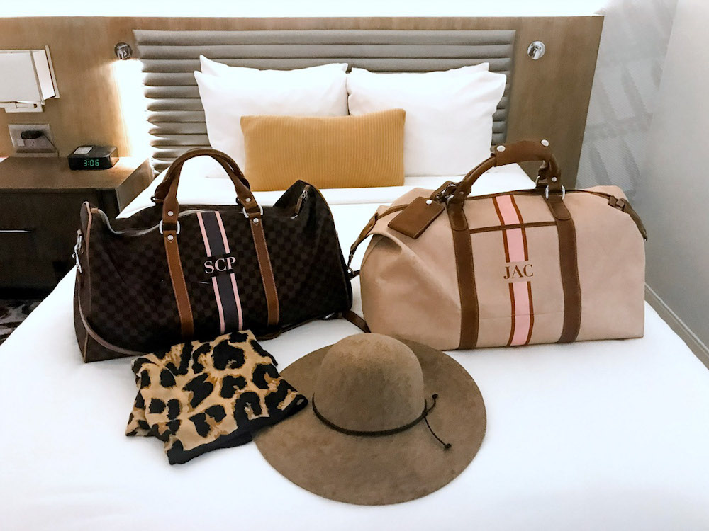 Hotel Indigo Atlanta Downtown hotel review, travel blogger Jaime Cittadino of Sunflowers and Stilettos, Barrington Gifts Captains Bag