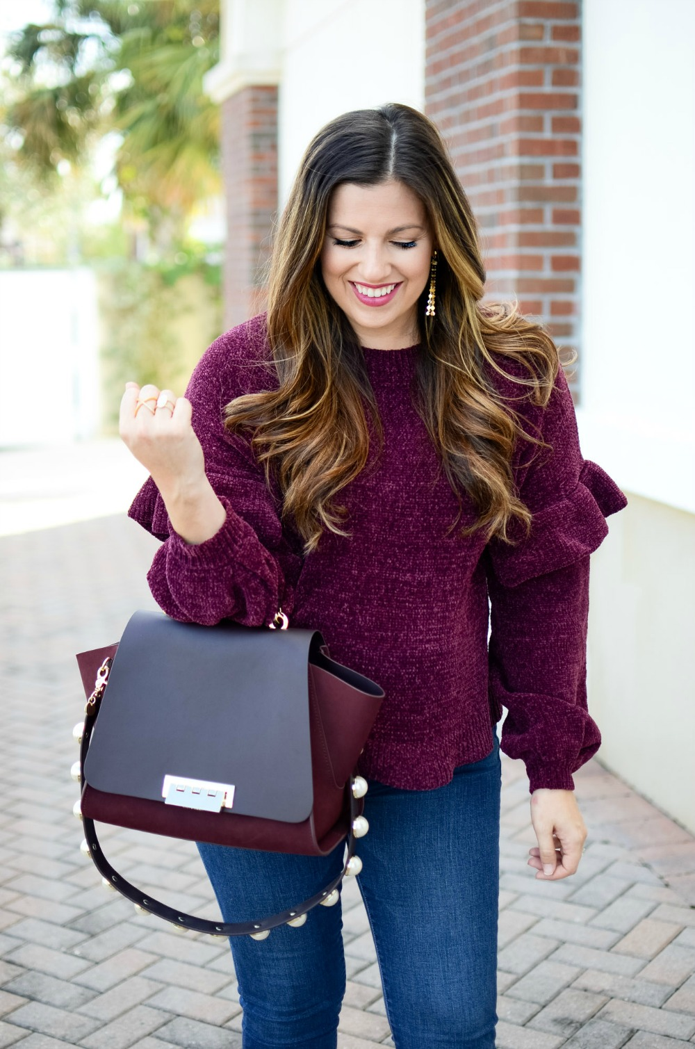 Ruffle Sleeve Chenille Sweater worn by Jaime Cittadino of Sunflowers and Stilettos blog