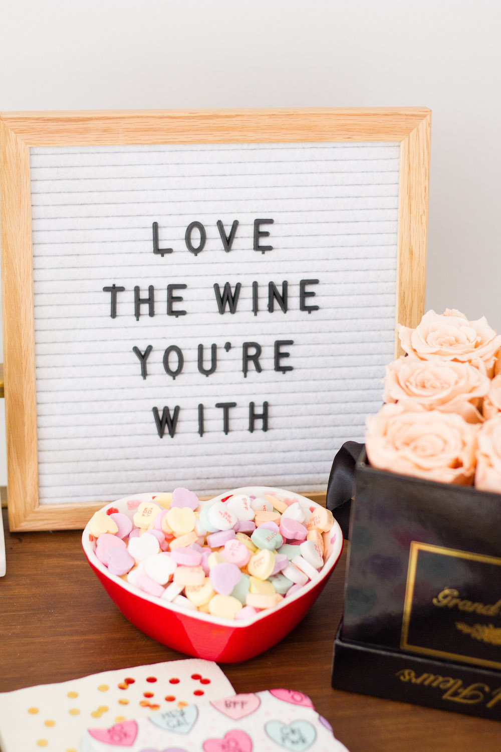 valentine's day letterboard, love the wine you're with sign