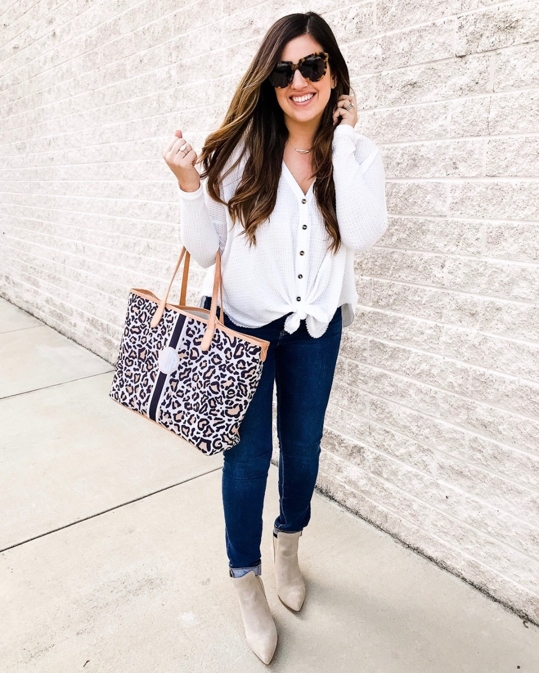 Barrington Gifts St Anne Tote, Leopard Diaper Bag Tote worn by Jaime Cittadino of Sunflowers and Stilettos blog