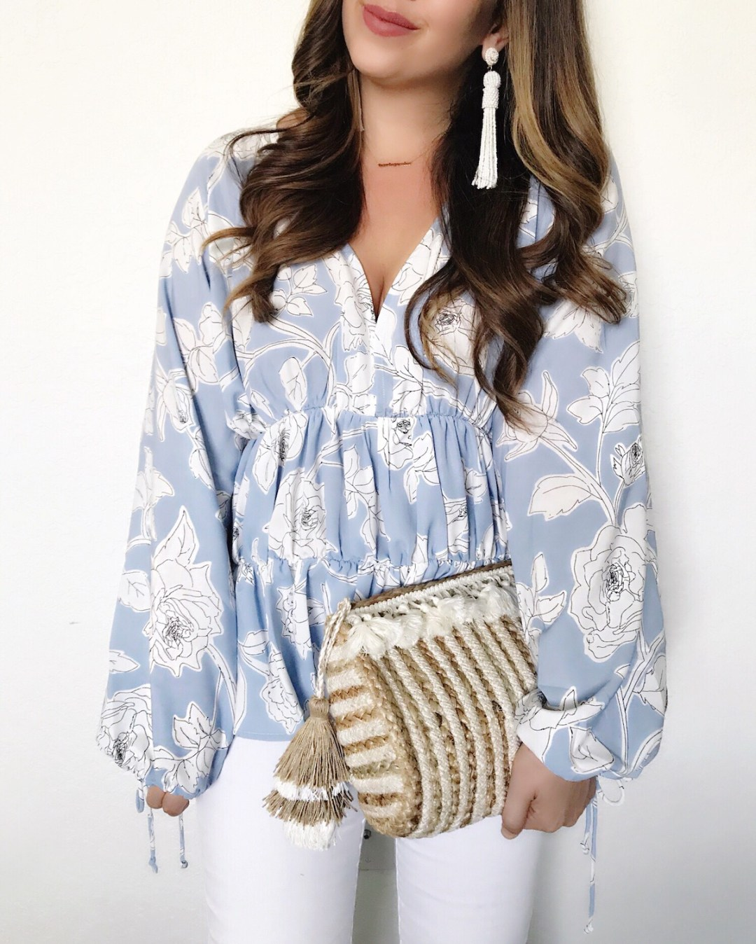 blue floral top, woven basket clutch, woven straw clutch, baublebar beaded tassel earrings