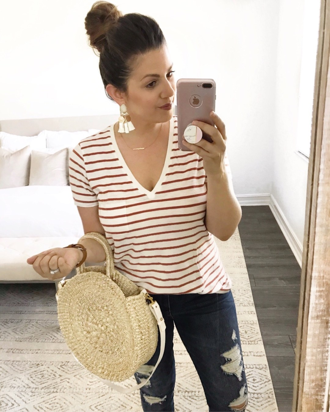 Clare V circle straw bag, striped v neck tee, casual cute outfit