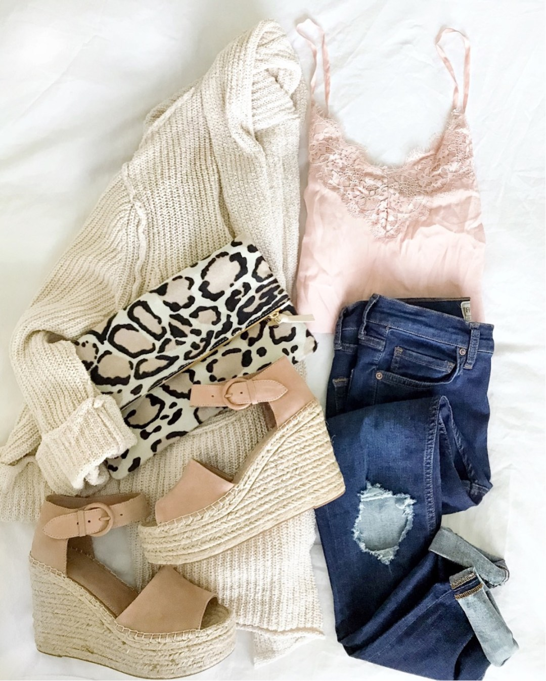 Clare V snow leopard clutch, Marc Fisher wedges, lace cami, cute casual outfit