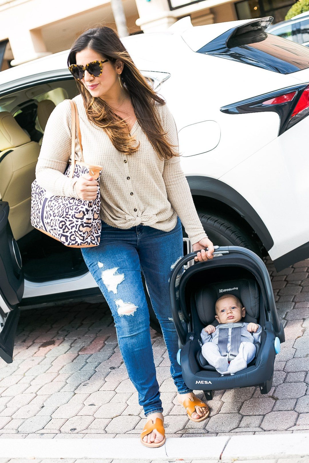 Barrington Gifts St Anne tote diaper bag worn by Jaime Cittadino of Sunflowers and Stilettos, leopard diaper bag, leopard tote