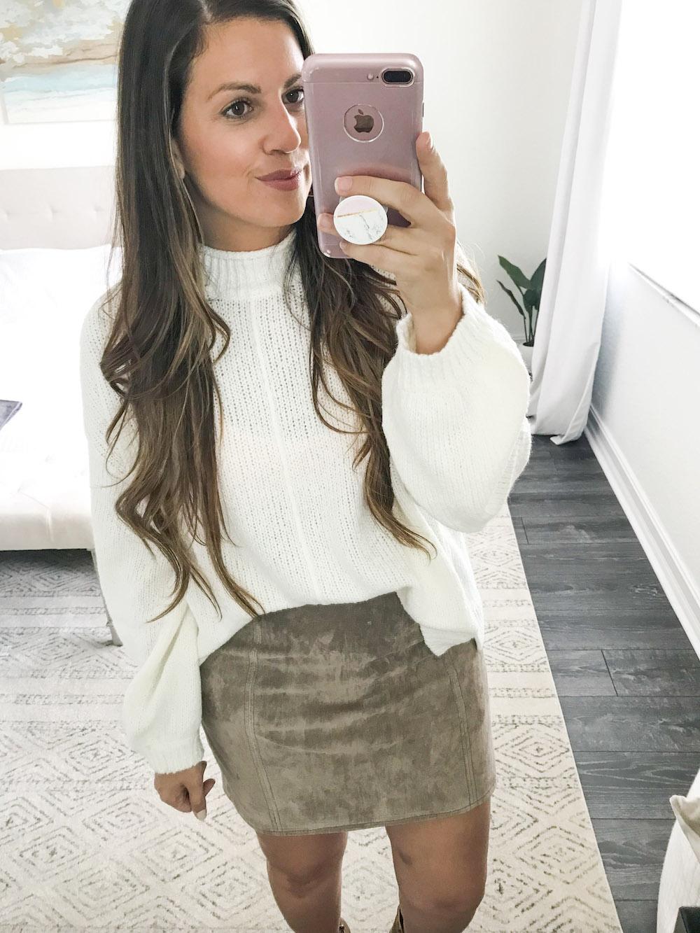 BP sweater, BlankNYC suede skirt