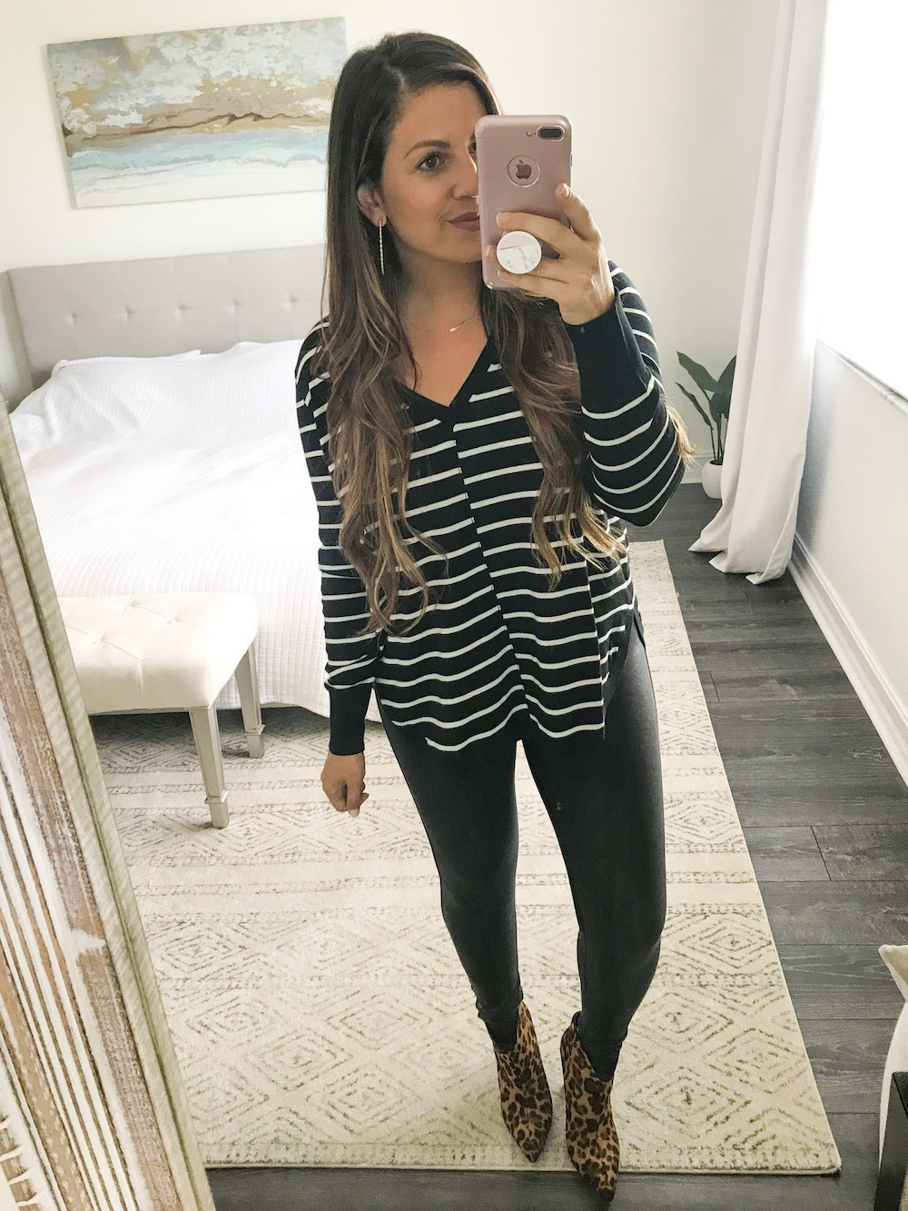 Calson stripe top with Spanx leggings