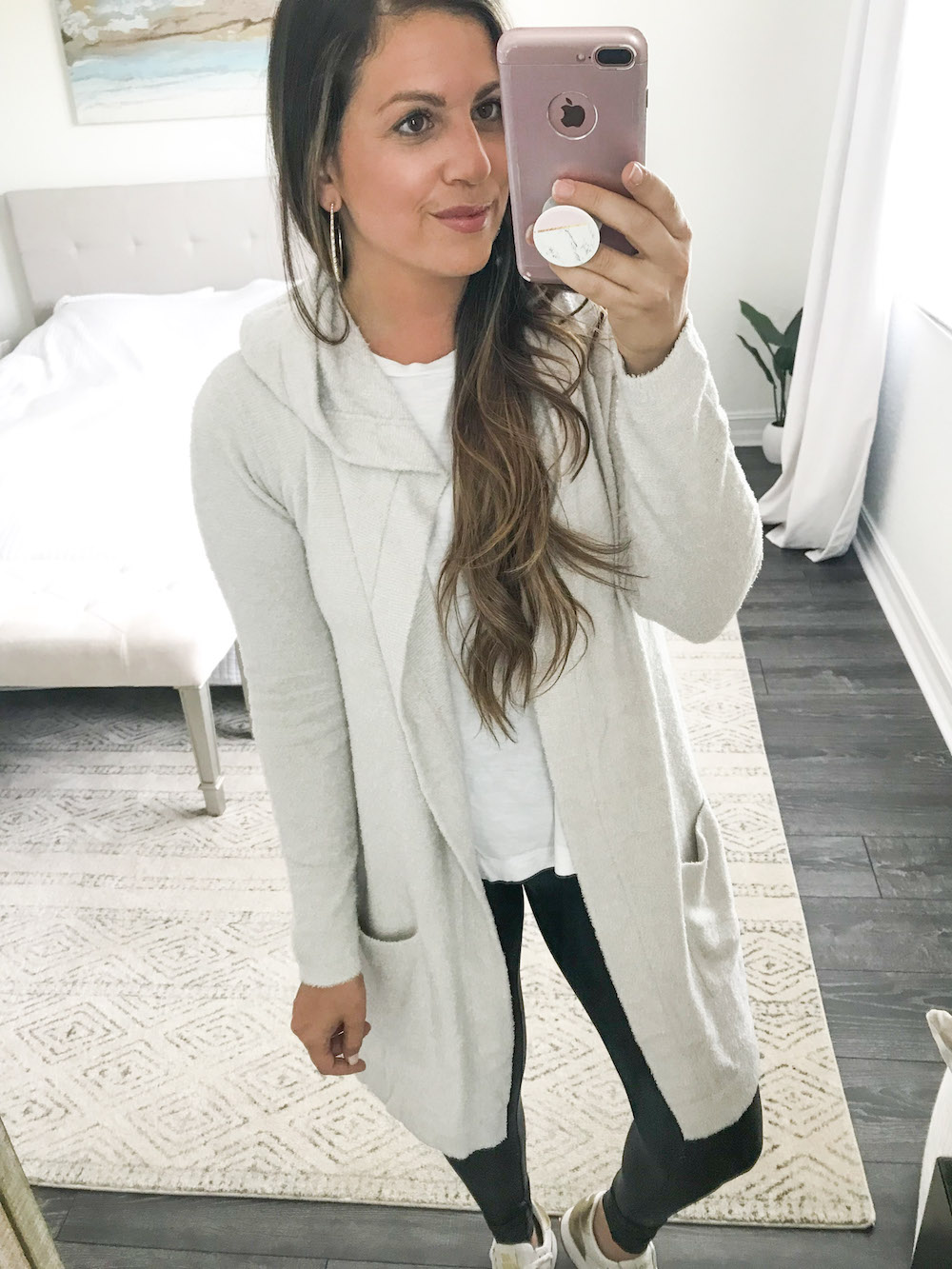 barefoot dreams long cardigan with hood