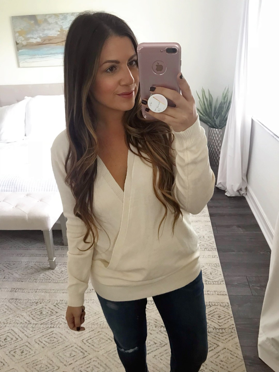 deep V long sleeve wrap front loose sweater
