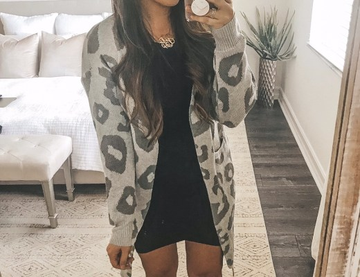 grey leopard duster cardigan