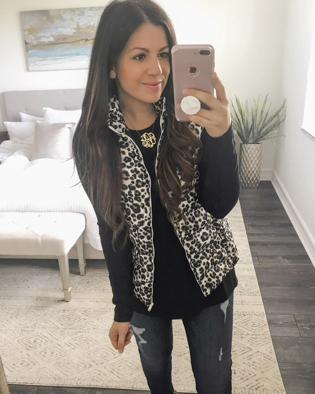 leopard vest, leopard puffer vest, Loft puffer vest