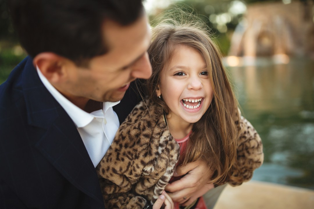 winter glam holiday family shoot, leopard jacket toddler girl