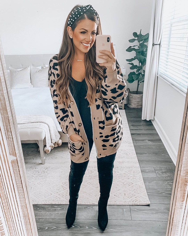 Amazon Fashion leopard sweater tan leopard cardigan, leopard sweater, leopard fall fashion, leopard outfit